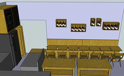 agencement de restaurant en 3D
